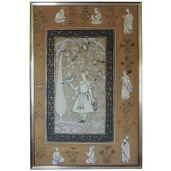 Vintage Hand-Painted Indian Portrait of a Noble