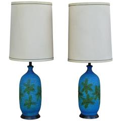 Mid-Century Modern Glazed Ceramic Lamps, Pair