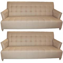 Elegant Pair of 1980s Donghia, USA Sofa in a Silk Blend
