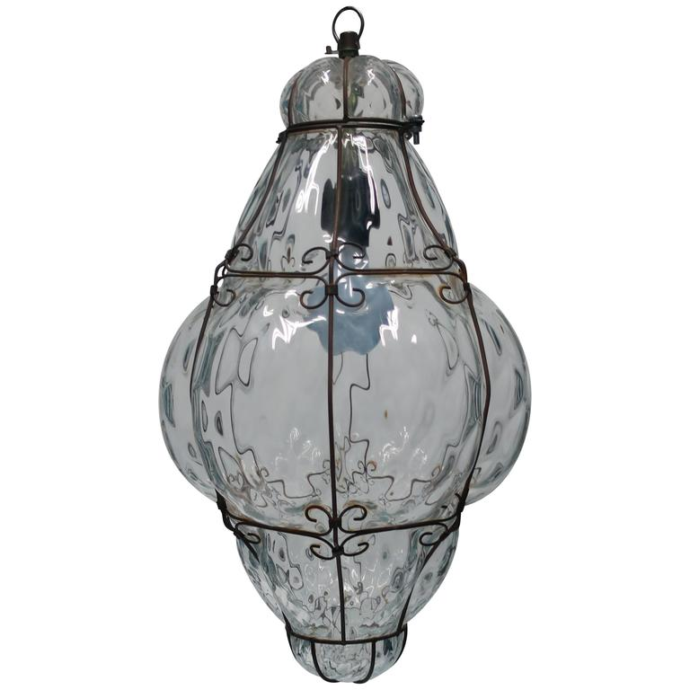 Clear Italian Chandelier Pendant Light For Sale