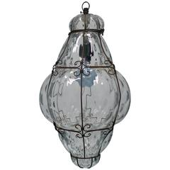 Gorgeous Clear Venetian Murano Chandelier Lantern Glass Light, Italy, 1950s