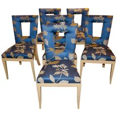 Set of Six Dakota Jackson Dining Chairs Upholstered in a Silk Donghia Fabric