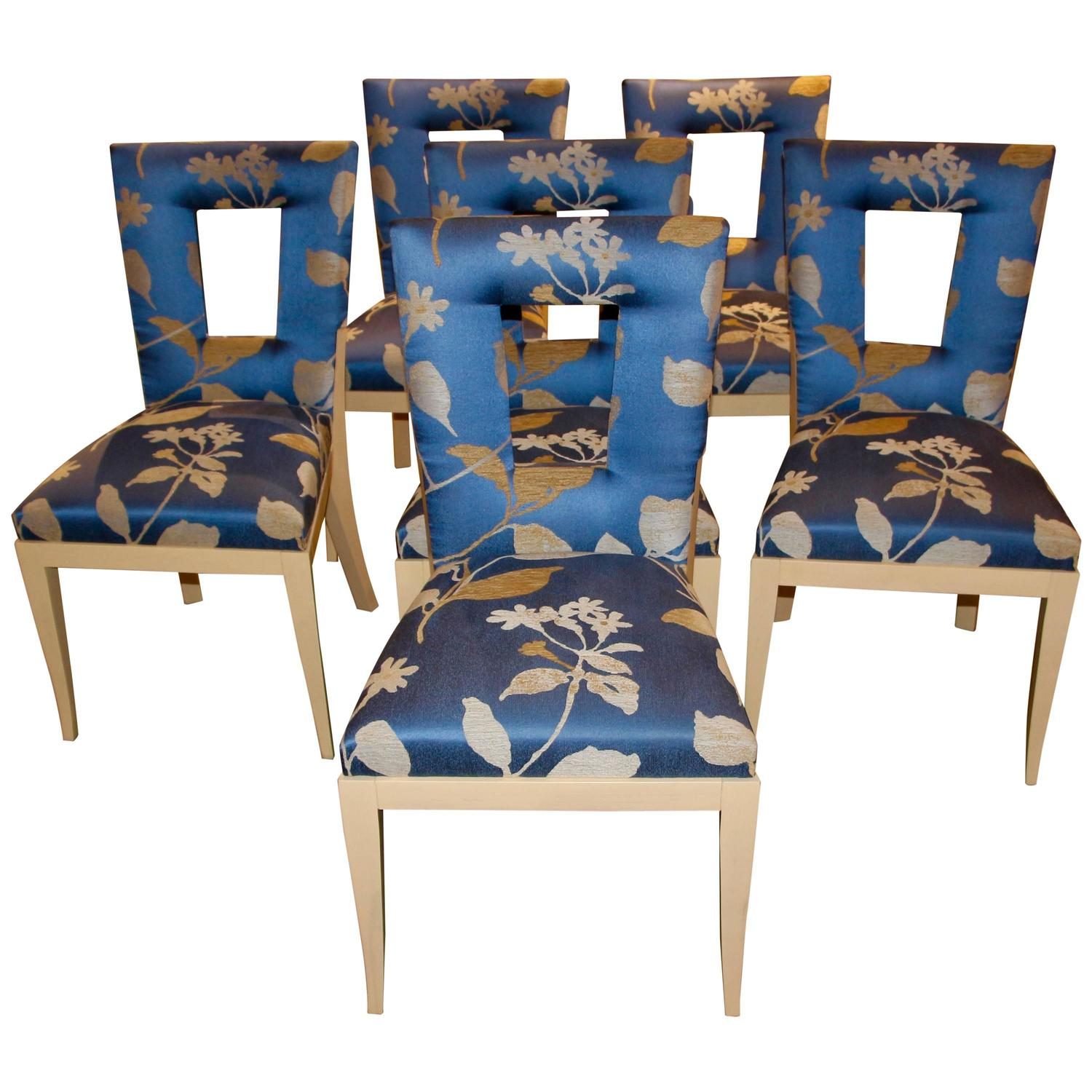 Set Of Six Dakota Jackson Dining Chairs Upholstered In A Silk Donghia Fabric For Sale At 1stdibs