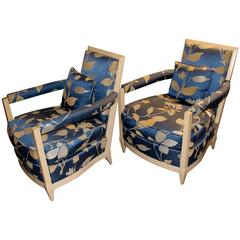 Pair of Donghia 1980s Upholstered Lounge Chairs with Label