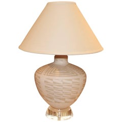 Richard Lindley Lucite and Acoma Pottery Lamp