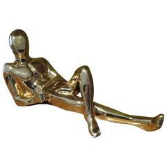 Sensual Gold Jaru Nude Male Ceramic Sculptures, Mid-Century Modern