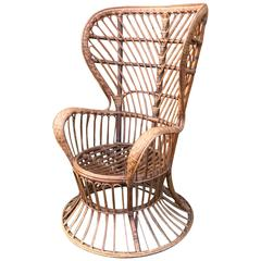 High Wingback Wicker Chair by Lio Carminati with Gio Ponti Casa E Giardino