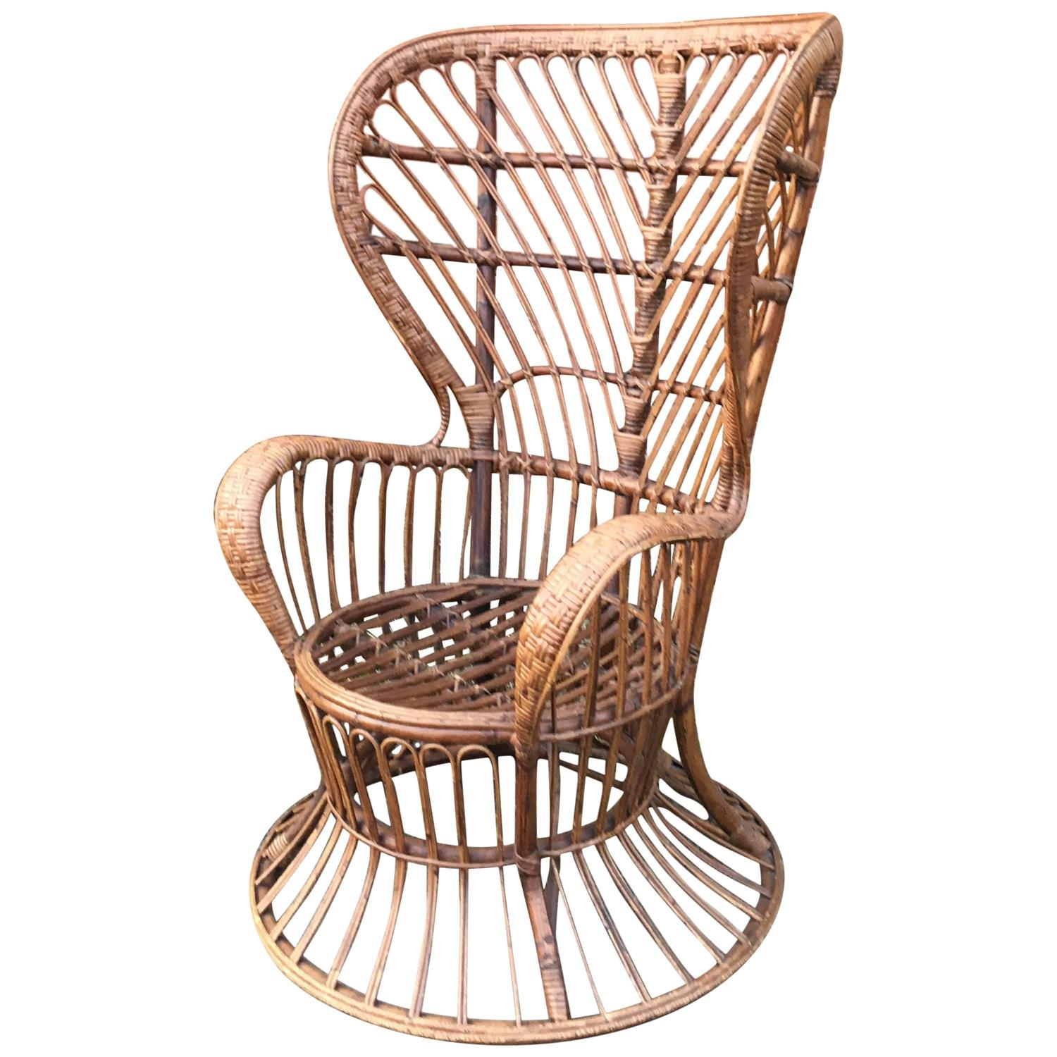 High Wingback Wicker Chair by Lio Carminati designed ca 1948 at