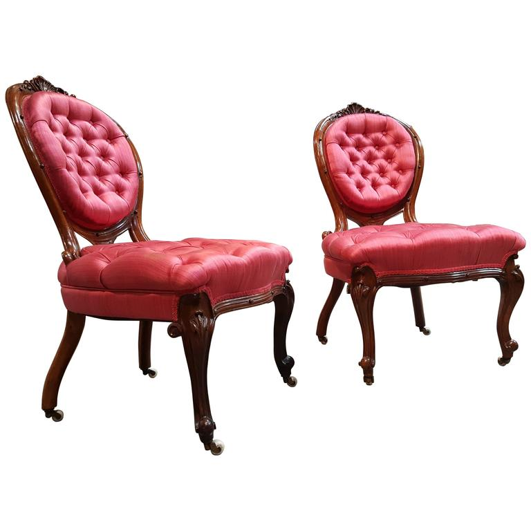 19th Century Carved Walnut Slipper Chairs