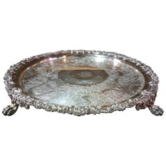 Silver Plate Round Footed Serving Tray