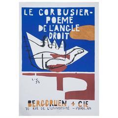 Rare Corbusier Exhibition Poster Poeme De L'Angle Droit, 1955