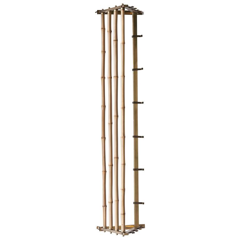 Mid-Century Brass Bamboo Coat Racks with Hooks, Austria, 1950s