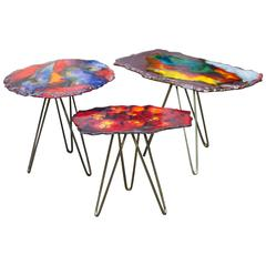 Colorful Tripod Enamel Nesting Tables, Italy, 1955