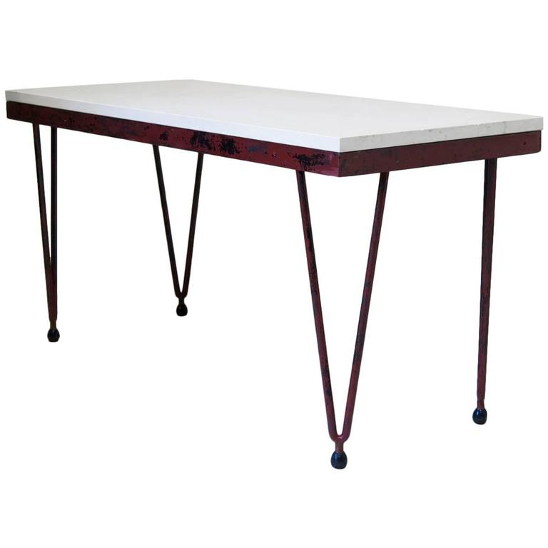 French Mid-20th Century Iron and Stone Dining Table
