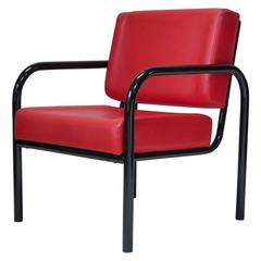 Tubular Metal and Faux Leather Armchair, France, circa 1950s