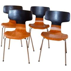 Set of four Hammer Chairs 3103 by Arne Jacobsen for Fritz Hansen, 1970