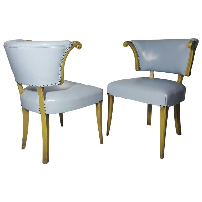 Pair of Regency Baby Blue Leather and Horned Arm Bergere Chairs