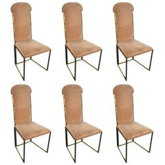 Six Willy Rizzo Dining Chairs in MéTal and Gold Chrome