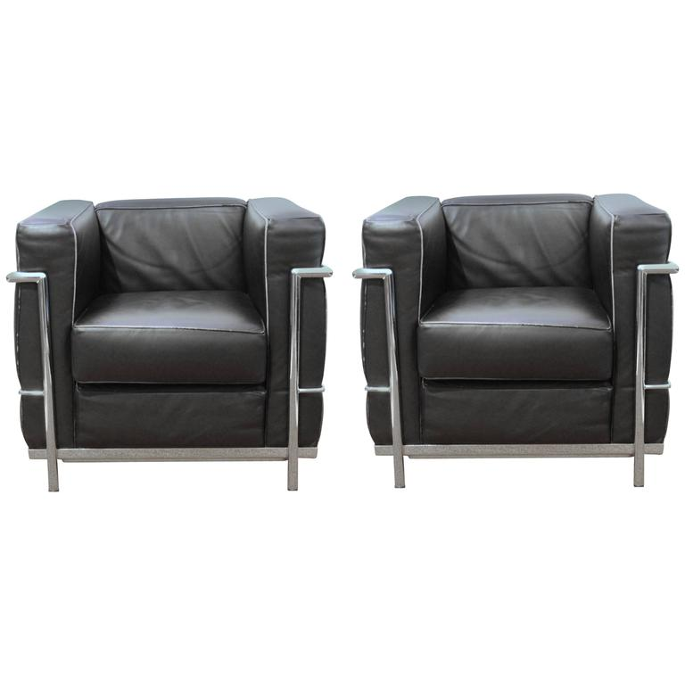 Pair Of LC2 Armchairs By Le Corbusier For Alivar For Sale