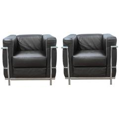 Pair of LC2 Armchairs by Le Corbusier for Alivar