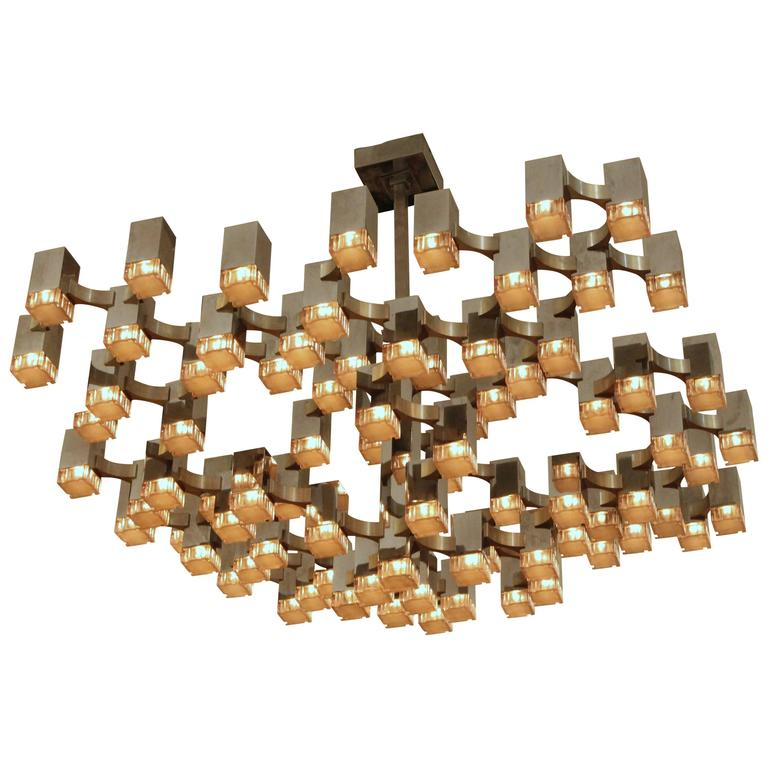Exceptional 81 Cubes Sciolari Chrome  Chandelier , 1970s , Italy For Sale