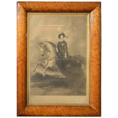 Early Victorian Period Engraving of Queen Victorian in a Maple Frame