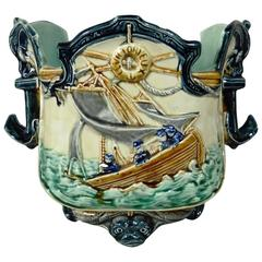 19th Century, Majolica Nautical Jardiniere Onnaing