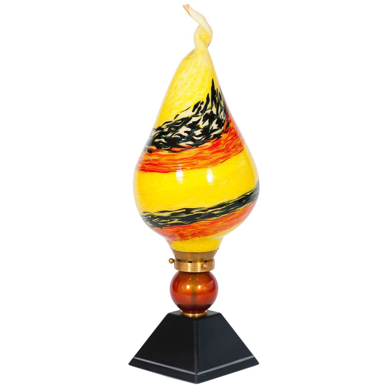 Italian Venetian Flame Table Lamp in blown Murano Glass yellow orange 1980s