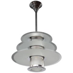 A Fine French 1930's Chrome and Glass Modernist Chandelier by Genet et Michon