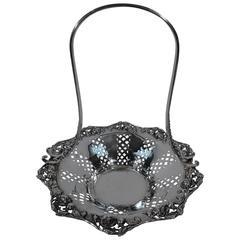 Elegant Tiffany Sterling Silver Basket with Roses