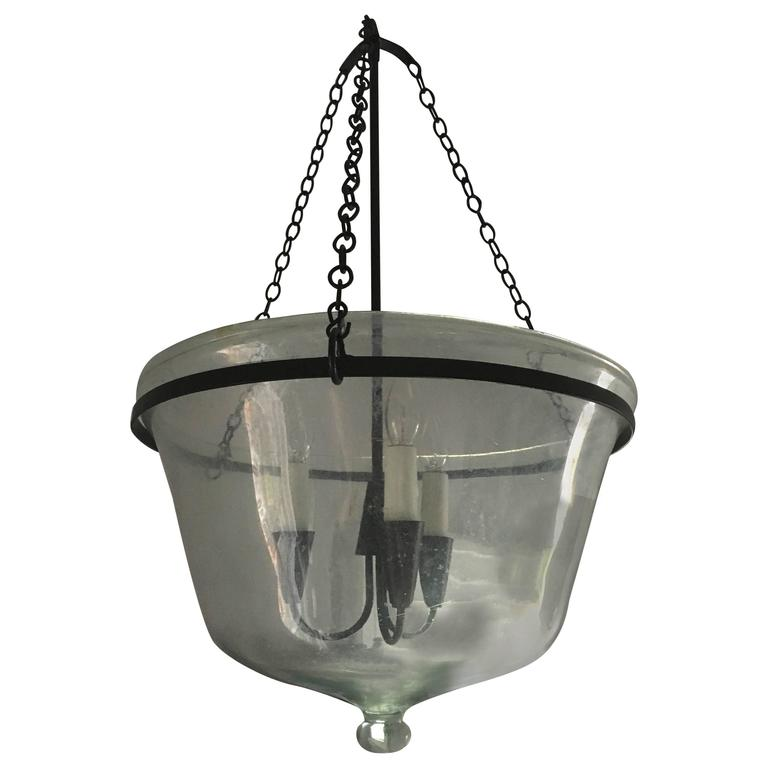 French Handblown Glass Melon Cloche Pendant Light