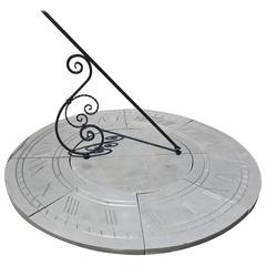 Six Foot Diameter English Cast Stone Sundial with Scrolled Gnomon