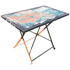French Wrought and Sheet Iron Folding Garden Table in Original Paint