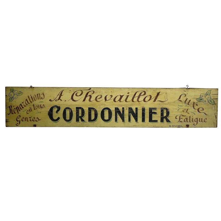 Late 19th Century Wood Hand-Painted French Cobblers Trade Sign