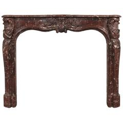 Beautiful Louis XV Style Rouge Royale Marble Mantle