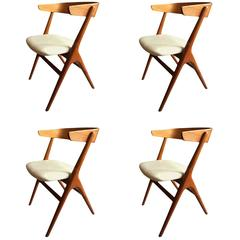 Rare Helge Sibast Chairs in Teak with New Leather