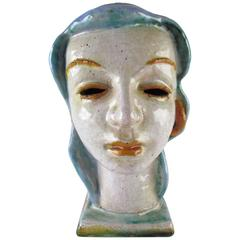 Head of a Woman Sculpture, Wiener Werkstatte Style, Made in Austria, circa 1920s