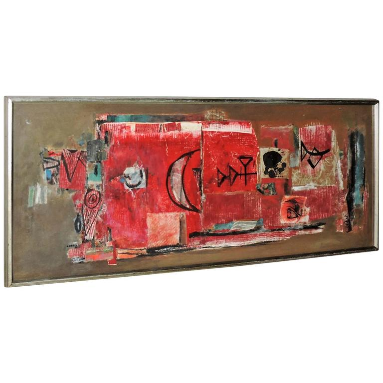 Abstract Modernist Mixed Media Painting by Hilda Altschule