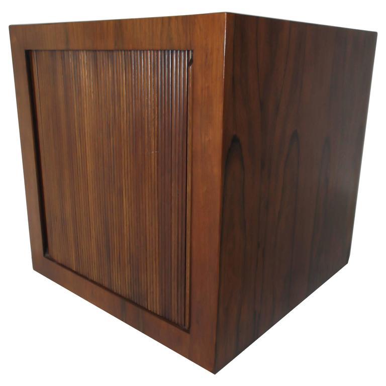 Manner of Harvey Probber Rosewood Cube Rolling Bar Cart Cabinet For Sale