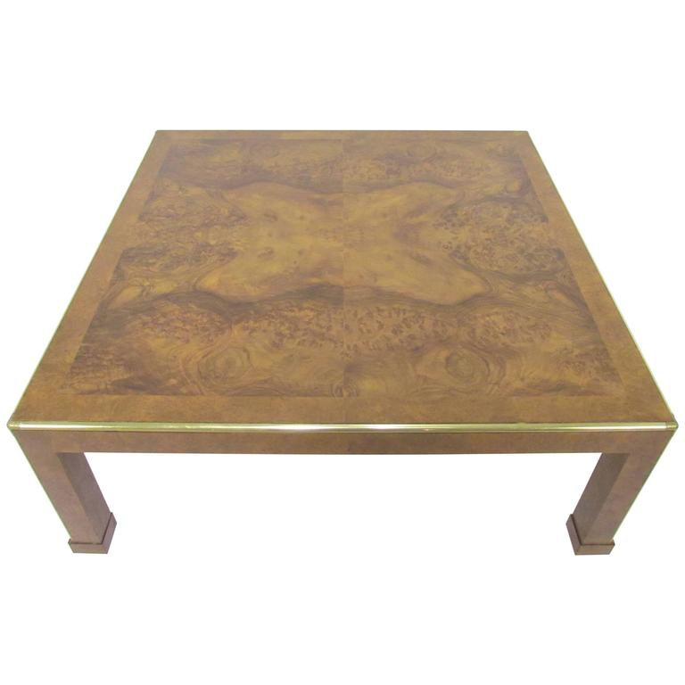 1970s Wood Furniture ~ Baker furniture large square burl wood coffee table circa