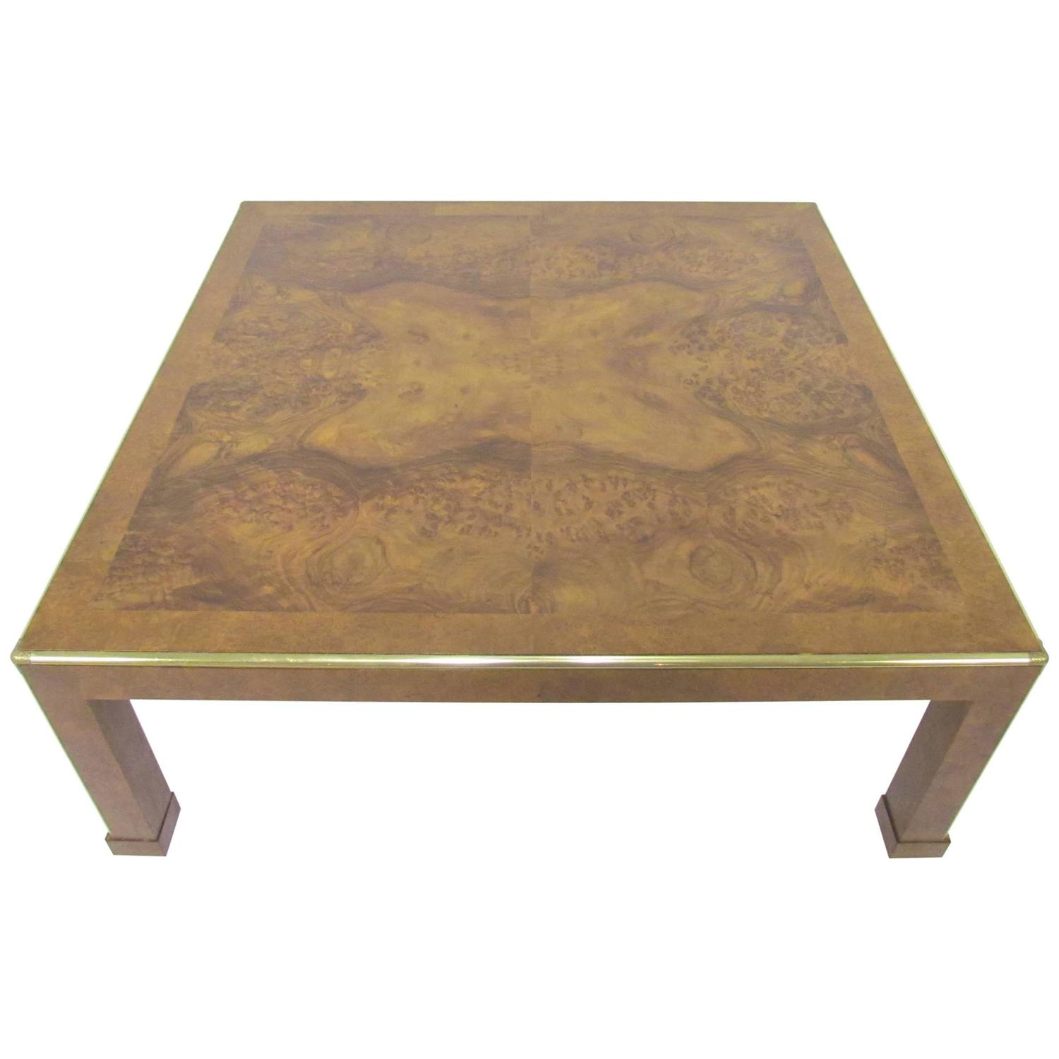 Baker Furniture Square Burl Wood Coffee Table circa 1970s