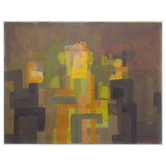 Abstract Symbolist Oil Painting by Harold Mesibov, Dated 1953