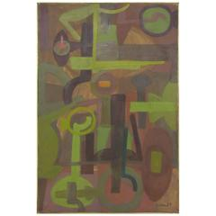 Abstract Symbolist Oil Painting by Harold Mesibov, Dated 1954