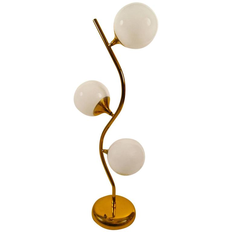 Three Light Brass Ball Shade Table Lamp For Sale At 1stdibs