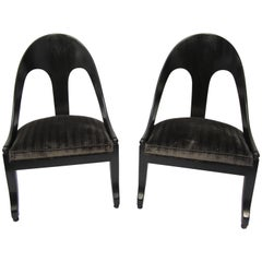 Pair of Spoon Back Modern Chairs