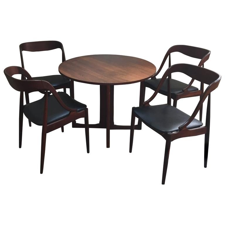 Danish modern game table and four chairs 1960s at 1stdibs for Contemporary game table and chairs