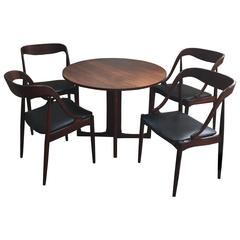 Danish Modern Game Table and Four Chairs, 1960s
