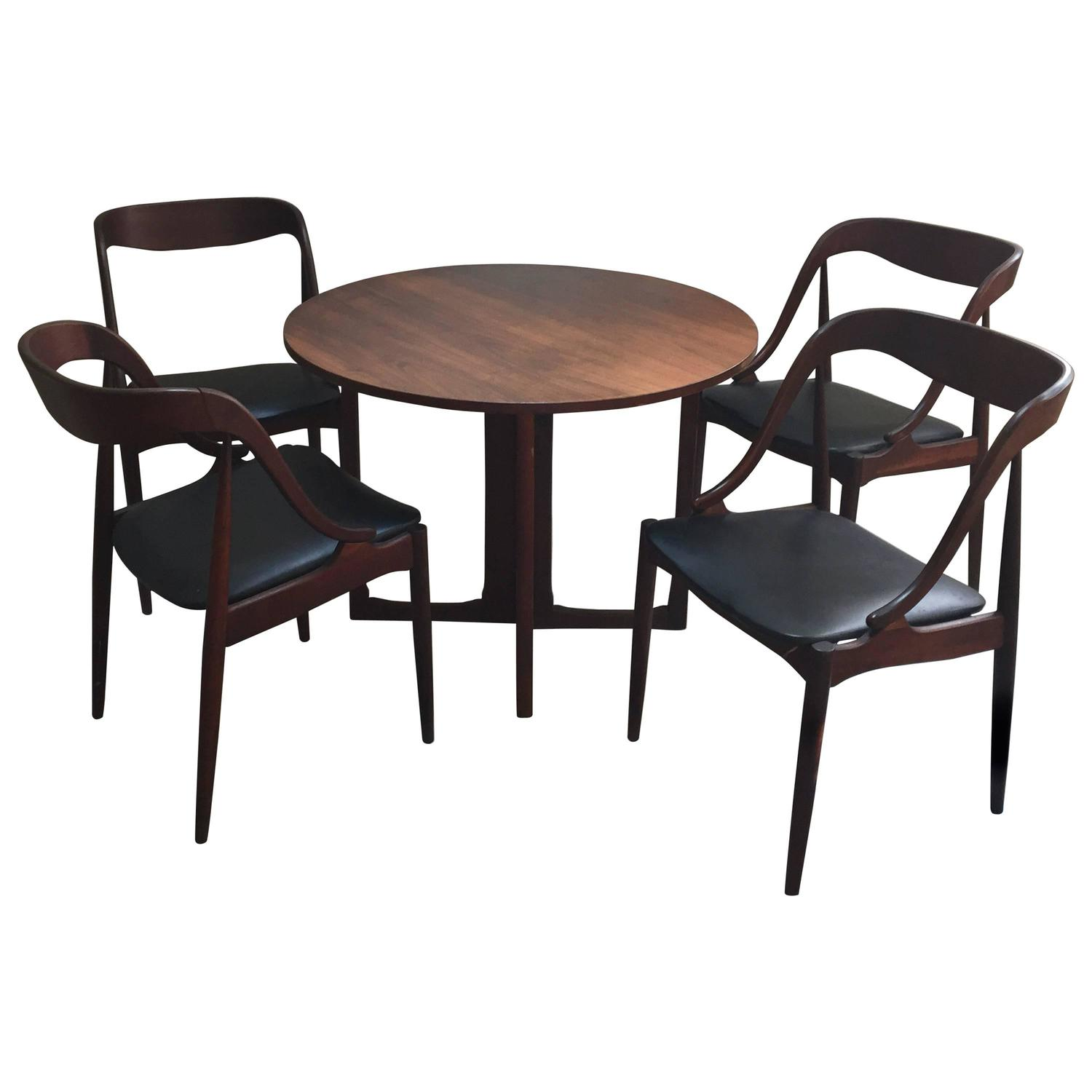 Tables And Chairs For Sale: Danish Modern Game Table And Four Chairs, 1960s For Sale