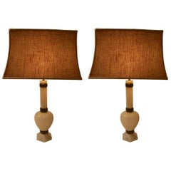 Pair of Elegant Alabaster and Bronze Table Lamps