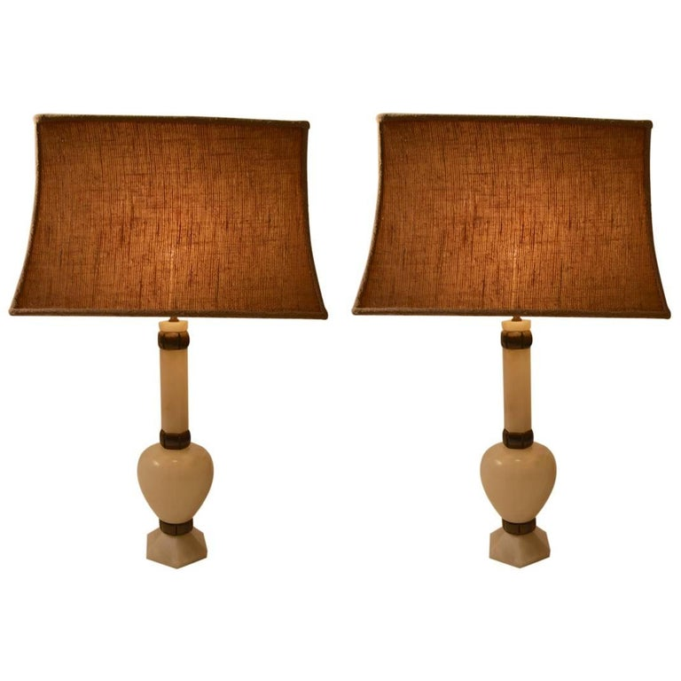 Pair of Elegant Alabaster and Bronze Table Lamps For Sale